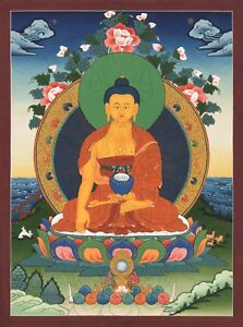 Thangka-Bouddha-Shakyamuni-034-Top-Pression-Qualite-034-Nepal-Bouddhisme-T11