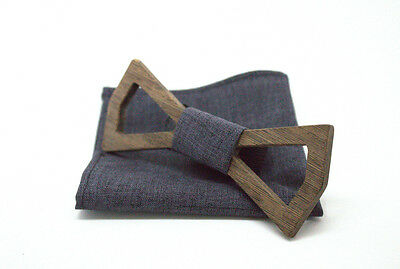 Wooden Bow tie + Pocket Square recycled wood repurposed wood eco friendly TVHEAD