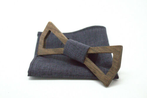 Pocket Square recycled wood repurposed wood eco friendly TVHEAD Wooden Bow tie