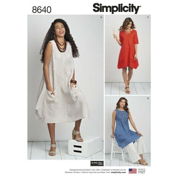 SIMPLICITY SEWING PATTERN 1102 MISSES 20W-28W CUSTOM FIT DRESS /& MAXI PLUS SIZES