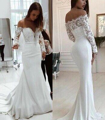 Off The Shoulder Wedding Dress Mermaid Long Sleeve Applique Bridal Gown Custom Ebay,Cream Colored Plus Size Wedding Dresses