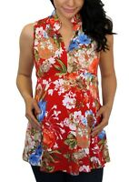Red Floral Maternity Womens Pregnancy Top Flowers Pregnant Clothes Trendy Wear