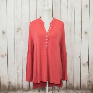 Soft-Surroundings-Women-039-s-Bell-Sleeve-Tunic-Henley-Blouse-Coral-Size-Large