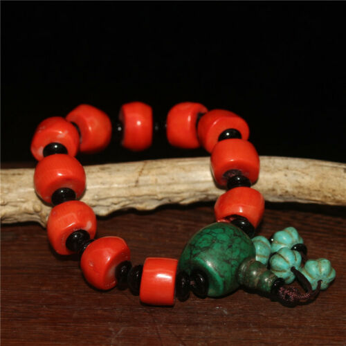 """7.09/"""" Chinese Exquisite Coral Turquoise Handmade Bead Bracelet"""