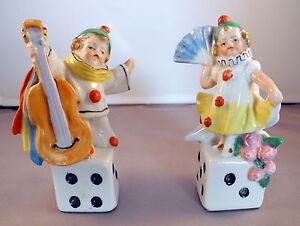 Couple-de-figurines-en-porcelaine-Enfants-PIERROT-amp-Colombine-debut-XXeme-Siecle