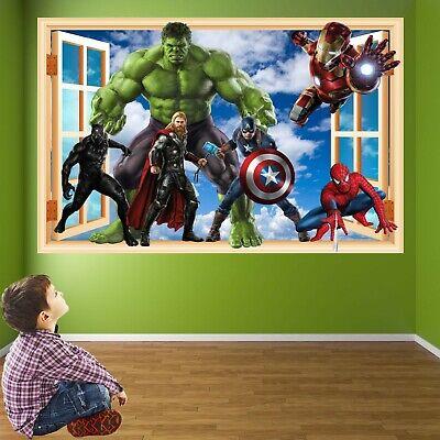 Avengers Superhero 3D Wall Art Sticker Spiderman Hulk Iron Man Decals Stickers