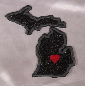 Embroidered-Black-Glitter-Sparkle-Michigan-MI-Love-State-Patch-Iron-On-Sew-USA