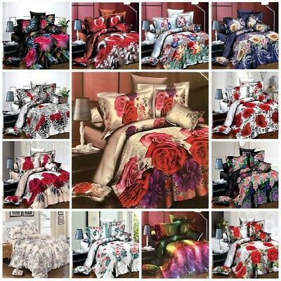 3D Floral Printed Effect Duvet Set Quilt Cover Set Fitted Sheet Pillowcase
