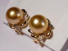 rich golden South Sea pearl earrings,diamonds,solid 14k yellow gold