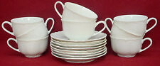 HUTSCHENREUTHER china RACINE white CUP & SAUCER Set of EIGHT (8)