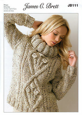 Ladies Sweater JB111 Knitting Pattern James C Brett Rustic Mega Chunky