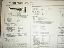 1968 FORD FALCON 6 CYLINDER 170 CU IN 105 HP CARB SUN TUNE UP SPECS SHEET