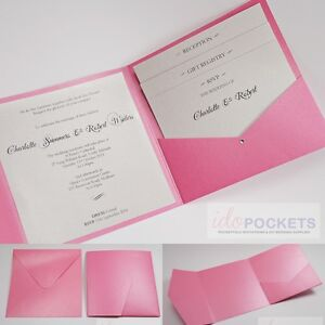Hot Pink Shimmer Square Wedding Invitation Envelopes Diy Pocket
