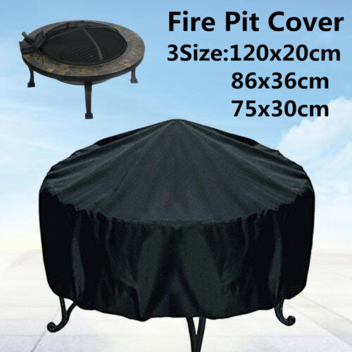 3Size Round Fire Pit Cover Black Waterproof Dustproof Outdoor Patio UV Protector