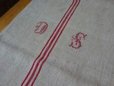 Antique European Feed Sack GRAIN SACK DS Monogram # 9464