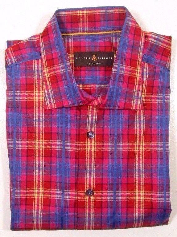 Robert Talbott Men's Hibiscus Plaid Tailored Fit Button Down Shirt SK