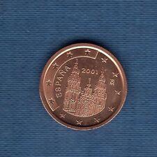 Espagne - 2001 - 1 centime d'euro - Pièce neuve de rouleau -