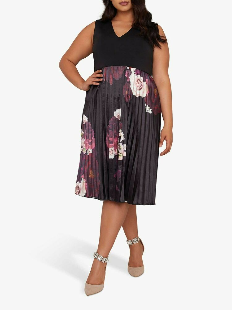 Chi Chi London Courbe Arden Robe, Noir Multi Taille Uk 24