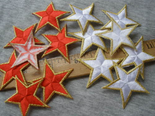 """Star Applique Patches Red or White Gold Edges Embroidered 1.75/"""" Patriotic Flag"""