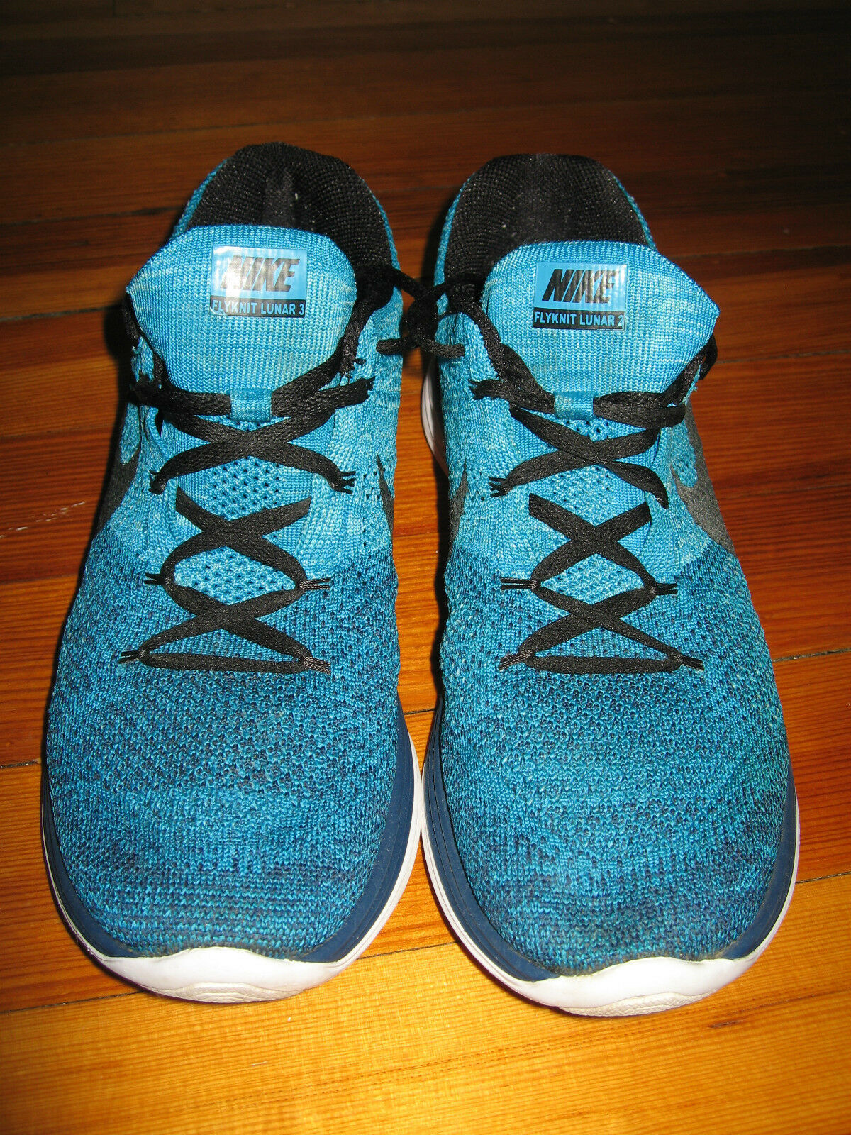 Pre-owned NIKE Flyknit Lunar 3 Blue Casual Running Sneakers Shoes Size 11