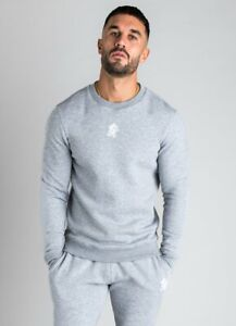 Gym-King-Mens-New-Long-Sleeve-Crew-Neck-Basis-Sweatshirt-Grey-Marl
