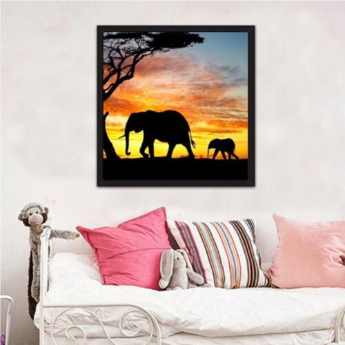 New 5D DIY Diamond Painting Diamond Elephants Sunset Full Diamond Embroidery