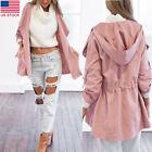 Women Fashion Warm Pink Hooded Long Trench Windbreaker Coat Parka Outwear Jacket