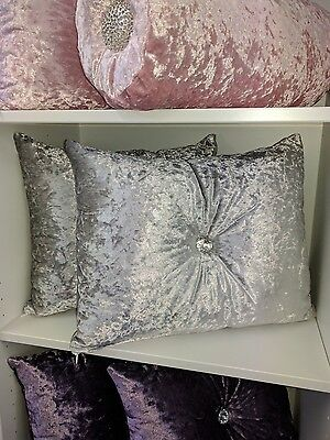 New white crushed velvet cushion rectangle size with centre diamonte