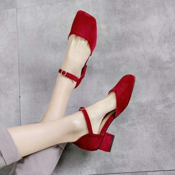 Retro Ladies Square Toe Block Heel Casual Pumps Ankle Buckle Dress shoes UK Size