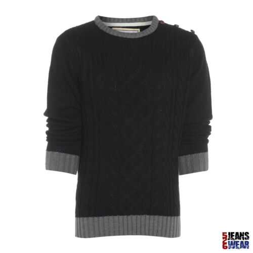 Soulstar Mens Crew Neck Cable Knit Jumper BNWT Taupe//Burgundy//Black