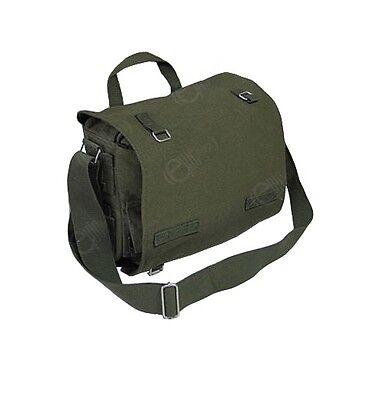 Black Military Style COMBAT Bag Cotton Canvas Shoulder Bag Student Book Satchel