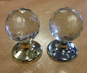 6 Pairs - Ball Glass Mortice Door Knob/Handle -Chrome or Brass- Includes fixings