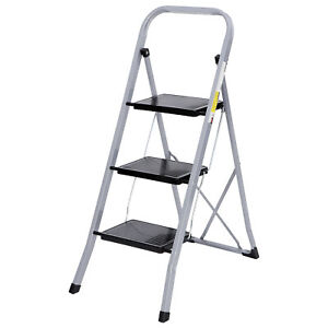 Non-Slip-3-Steps-Ladder-Stool-Folding-Ladder-Safety-Tread-Kitchen-Home-Use-300lb