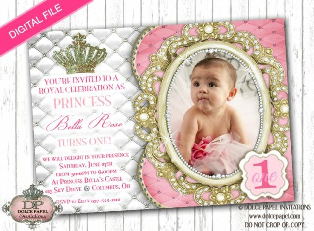 DIAMOND PRINCESS Royal Pink White Gold 1st Birthday Party Invitation DIGITAL