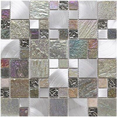 Cut down sample of iridescent random glass stone & metal mosaic tiles