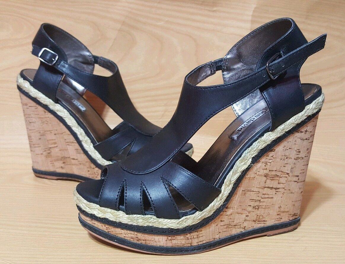 Charles David compensées noires Bride Cheville Chaussures Pointure 7 b
