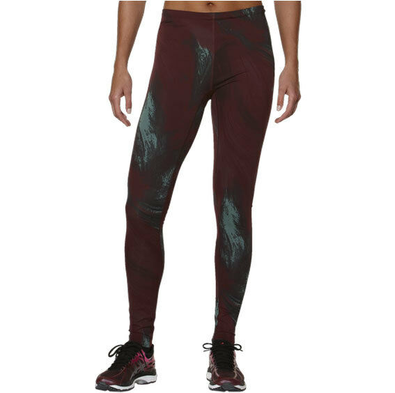 Asics Womens Graphic Long Tights Gym Running Leggings Aurora