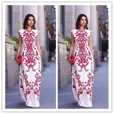 New Women Elegant Print Floral Long Maxi Evening Party Gown Beach Cocktail Dress