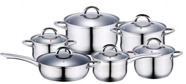 12 pièces en acier inoxydable Casserole Set Induction Casseroles Casserole Couvercle Ustensiles de Cuisine Poêle