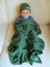 Set Babymütze + Babydecke, Taufgeschenk, 100% Cashmere, moosgrün, ca. 70 x 100