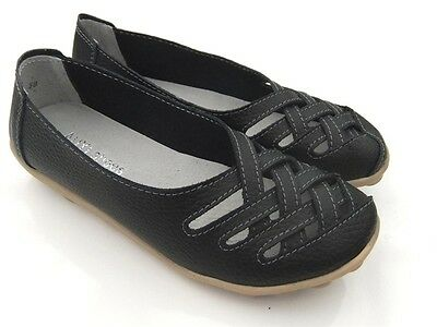 Ladies Sz 11 BLACK Soft LEATHER FLATS Ballet Walk SHOES Work Comfort Womens