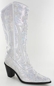 New Helens Heart Silver Sequin Western Boots Size 5, 6, 7, 8, 9 ...