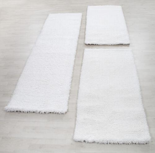 Bettumrandung Schaffel Teppich Läuferset 3 teilig Hochflor Einfarbig Farbe Creme