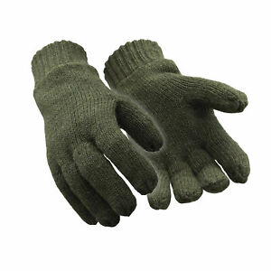 RefrigiWear Warm Fleece Lined Thinsulate Insulated 100% Ragg Wool Gloves Green