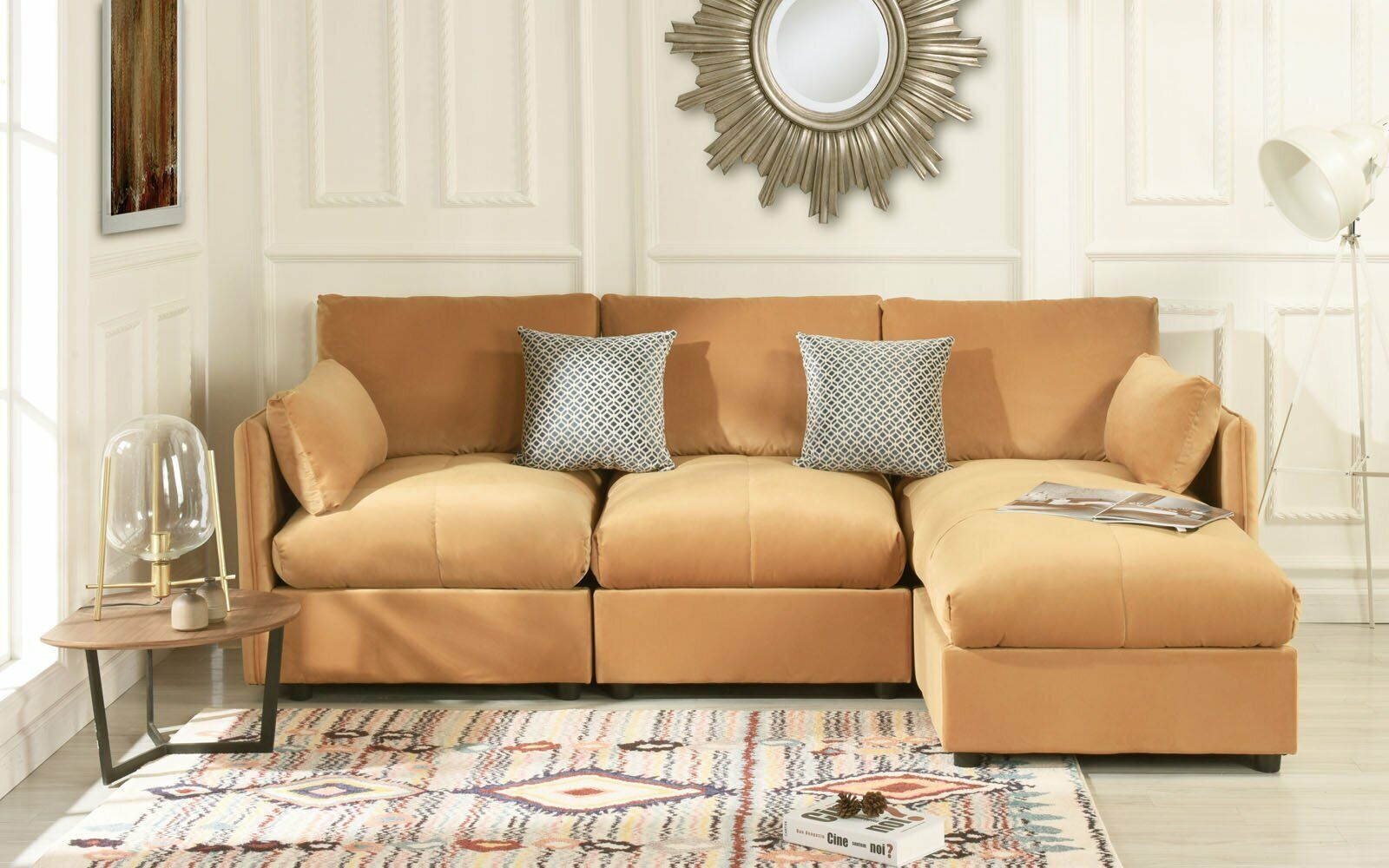 Modern Living Room Velvet L Shape Couch Sectional Sofa Right Facing Chaise Camel