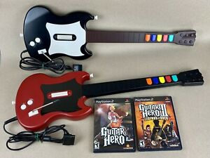 2-PlayStation-2-PS2-Guitar-Hero-Wired-Gibson-SG-Controller-RedOctane-2-Games