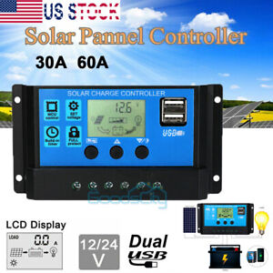 LCD-30A-60A-Solar-Charger-Controller-PWM-Dual-USB-Charge-Regulator-Panel-12-24V