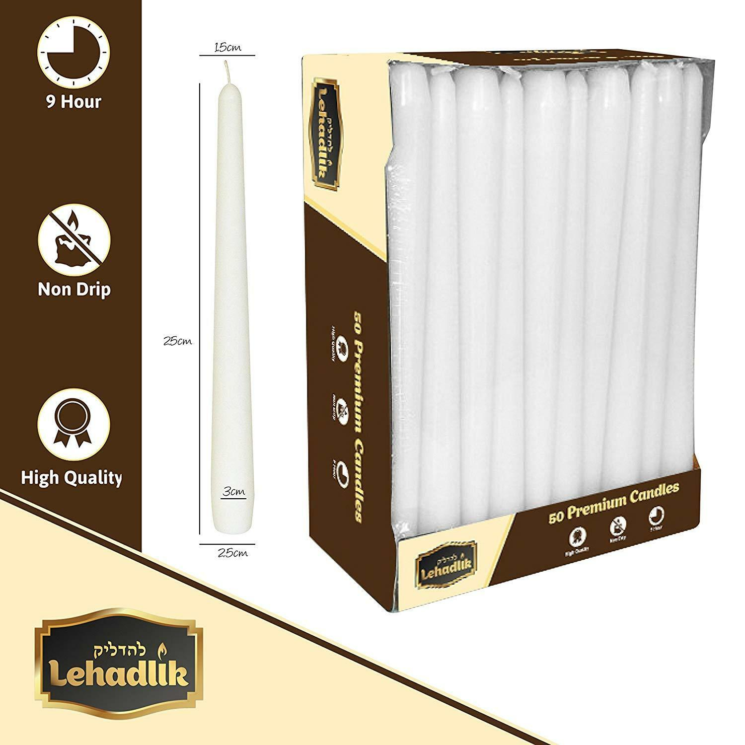200 x 25cm Weiß Bistro Taperot Dinner CANDLES 8-9hr Burn Time. High Quality.