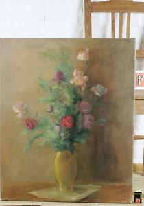 Carl-Dorrbecker-1894-1983-Oil-Painting-Antique-1935-Still-Life-Roses-Flower-Vase