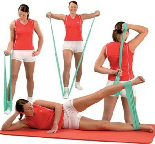 Pilates Resistance BANDS Stretch Therapy 3 PK Tubing PILATES BARRE Fitness ROG